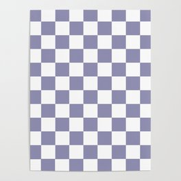 Checkered Pattern Grayish Blue Violet Purple and White Poster
