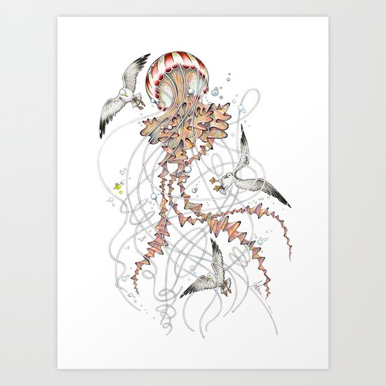 Compass Jellyfish  Art Print