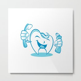 Smiling tooth with toothbrush and toothpaste Metal Print