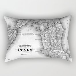 Vintage Map of Italy (1864) BW Rectangular Pillow