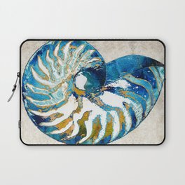 Beachy Art - Nautilus Shell Bleu - Sharon Cummings Laptop Sleeve