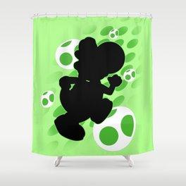Super Smash Bros. Green Yoshi Silhouette Shower Curtain
