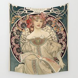 Alphonse Mucha - Vintage Advertisement Poster for F. Champenois, Printer & Publisher (1898) Wall Tapestry