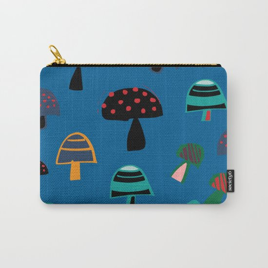 Cute Mushroom Blue Carry-All Pouch