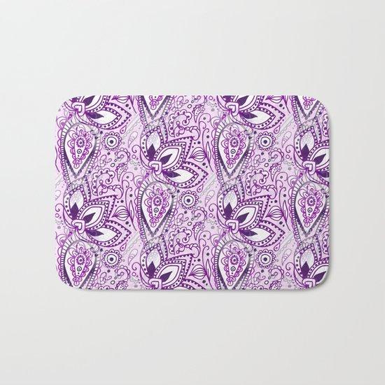 Boho Purple Paisley Doodle Bath Mat