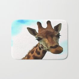 Hello up there! Fun Giraffe With Nerdy Expression Bath Mat