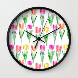Watercolor tulips from Holland Wall Clock