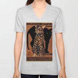 Vintage Munich Zoo Leopard 1912 Advertisement Unisex V-Neck