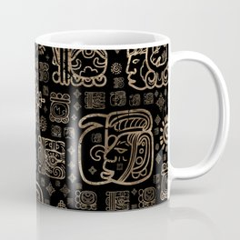 Mayan glyphs and ornaments pattern -gold on black Coffee Mug