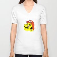 mario V-neck T-shirts featuring Mario by CCCRRRAAAIIIGGG