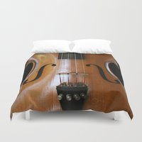 beethoven Duvet Covers featuring Violin by Päivi Vikström