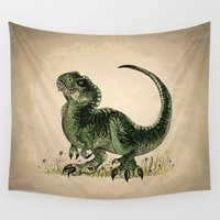 t rex Wall Tapestries featuring Baby T-Rex by River Dragon Art