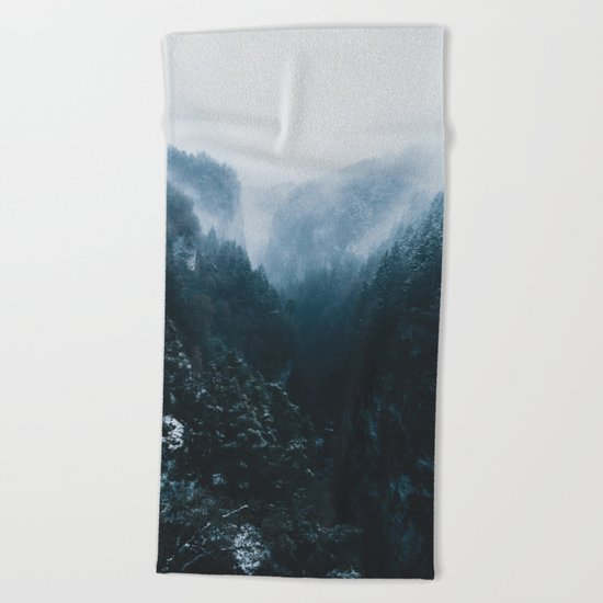Foggy Forest Mountain Valley - Landscape Photography Beach Towel