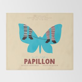 Papillon, Steve McQueen vintage movie poster, retrò playbill, Dustin Hoffman, hollywood film Throw Blanket