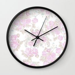 Vintage chic pastel pink green romantic roses floral Wall Clock