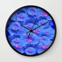 Blue Morning Glories  Floral Collage Pattern Abstract Wall Clock