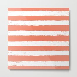 Coral Stripe Pattern Metal Print