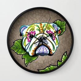 English Bulldog - Day of the Dead Sugar Skull Dog Wall Clock