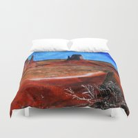 utah Duvet Covers featuring Utah Landscape Acrylic Painting by James Peart