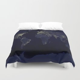 Earth at Night Duvet Cover
