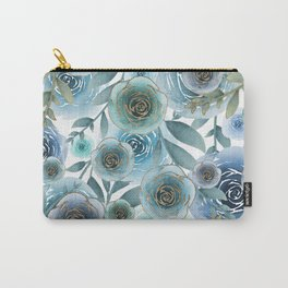 Watercolor Roses Golden Blues Carry-All Pouch