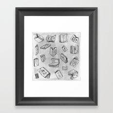Classics - Book Pattern (White) Framed Art Print