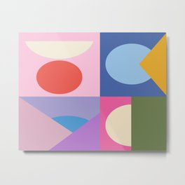 Colorful Bauhaus Style Shape Art in Pink, Blue, Yellow, and Green Metal Print