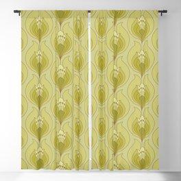 Light Green Floral Art Nouveau Inspired Pattern Blackout Curtain