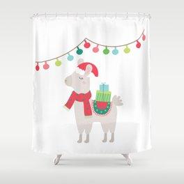 Christmas llamas V Shower Curtain