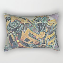 Bumblebee Surprised Artistic Illustration Colored Pencils Lines Style Rectangular Pillow