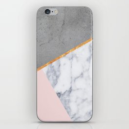 Marble Blush Gold gray Geometric iPhone Skin