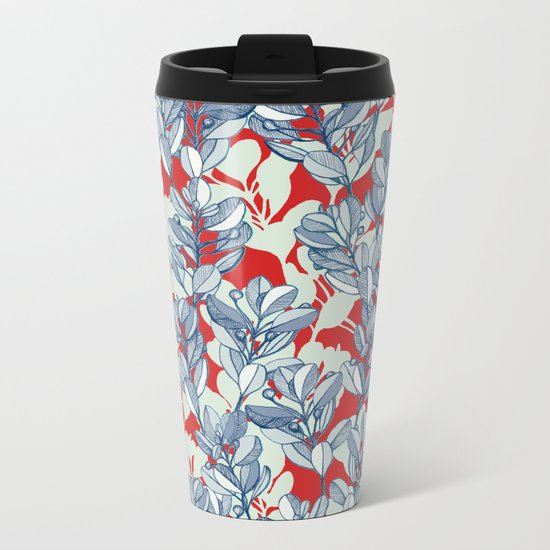 Leaf and Berry Sketch Pattern in Red and Blue Metal Travel Mug