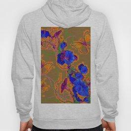 Modern Butterflies  Royal Blue Morning Glory Pattern Art Hoody