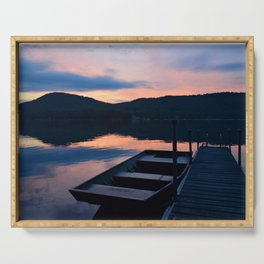 Pretty Adirondack Dawn: Jon Boat and Old Dock Serving Tray