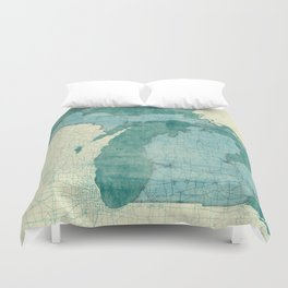 Michigan State Map Blue Vintage Duvet Cover