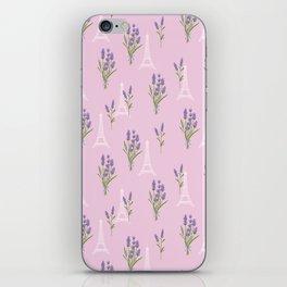 Elegant lavender lilac white Paris Eiffel Tower floral iPhone Skin