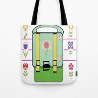 backpack Tote Bags featuring Backpack - Flower Power by Drape Studio