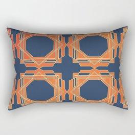 Blue & Orange Fretwork Rectangular Pillow