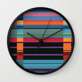 Colorful Lines And Retangles Geometric Abstract Art Digitalart Gift Wall Clock