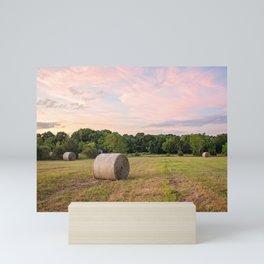 Hay field Mini Art Print