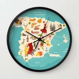 Spain map vector. Illustrated map of Spain for children Wall Clock