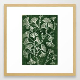 Emerald Green Ginkgo Lino Print Framed Art Print