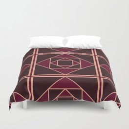 Art Deco Pattern Red Brown Gold Duvet Cover