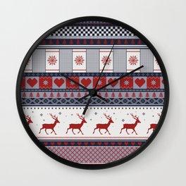 Scandinavian Christmas Pattern Wall Clock