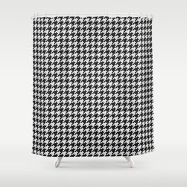 Friendly Houndstooth Pattern, black and white Shower Curtain