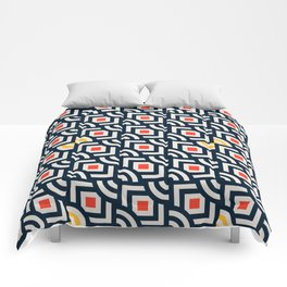 Round Pegs Square Pegs Navy Blue Comforters