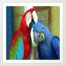 Red and Blue Macaws Crackle Print Art Print