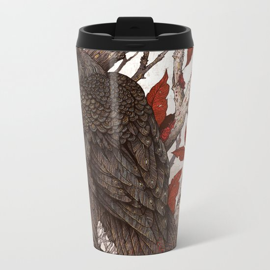 A Raven In Winter Metal Travel Mug