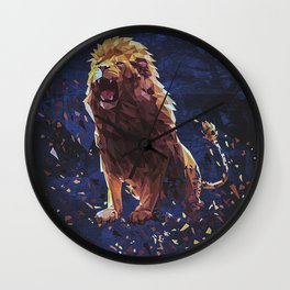 Polymetric Roaring Lion Shattered With A Dark Backgroun ... Wall Clock