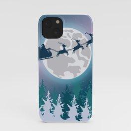 Santa Claus Sleight Moon Flying iPhone Case
